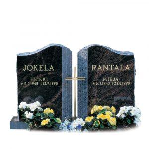 Kivilähde, hautakivi, kaksiosainen, kahdelle sukunimelle
