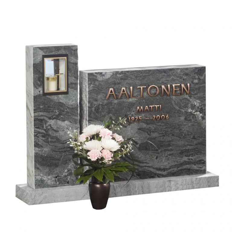 Kivilähde, gravsten, tvådelade, med lykta