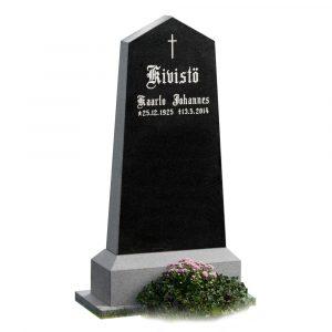 Kivilähde, hautakivi, musta graniitti