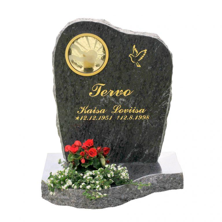 Kivilähde, hautakivi, lyhty, lohkottu