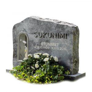 Kivilähde, gravsten, med lykta